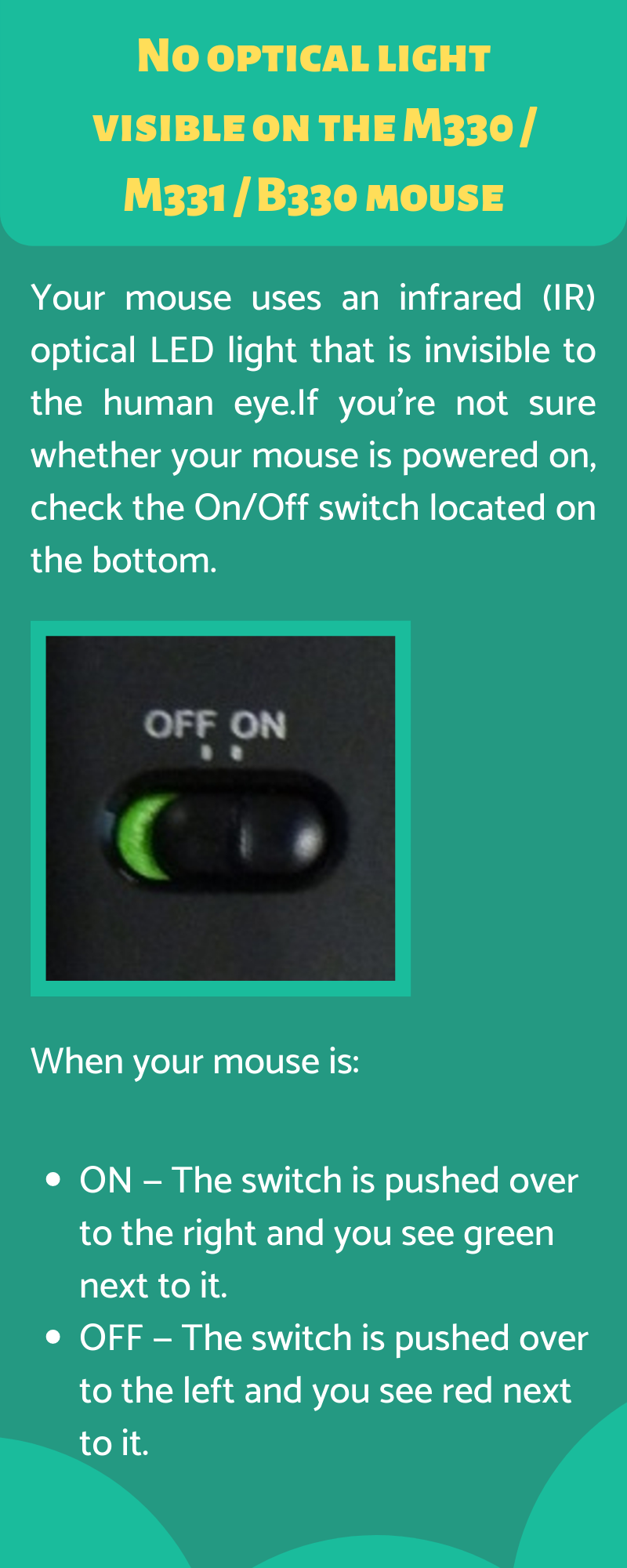 No optical light visible on the M330 _ M331 _ B330 mouse
